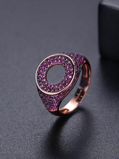 Red zirconium t17a22 Brass Cubic Zirconia Geometric Minimalist Band Ring