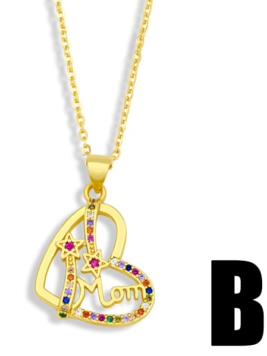 B Brass Cubic Zirconia Heart Minimalist Necklace
