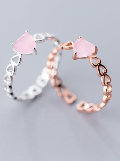 925 Sterling Silver Opal Pink Heart Minimalist Band Ring