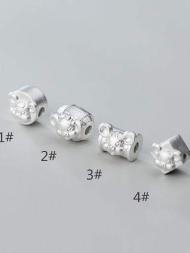 925 Sterling Silver With Geometric Zodiac Rat Beads  DIY Jewelry Accessories