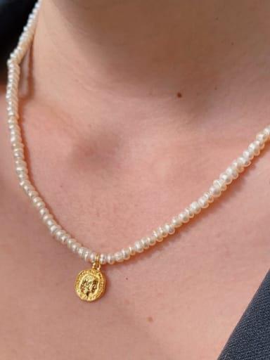 Titanium Steel Imitation Pearl Geometric Vintage Necklace