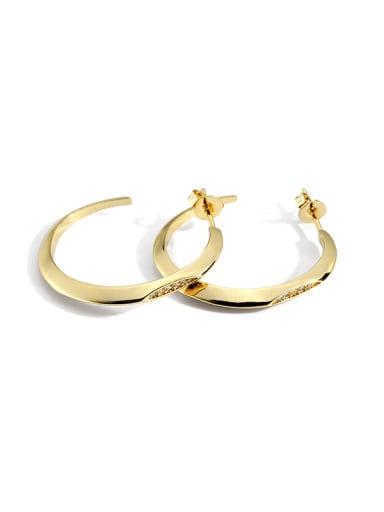 Brass Cubic Zirconia Geometric Minimalist Hoop Earring