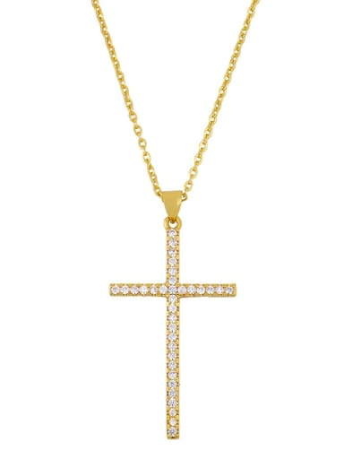 Brass Cubic Zirconia Cross Minimalist Necklace