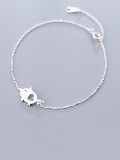 S925 silver fashion temperament brushed love piggy Bracelet