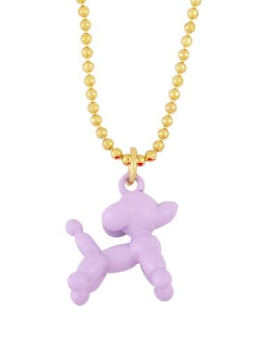 purple Brasel  Cute Cartoon Dog Pendat Necklaces