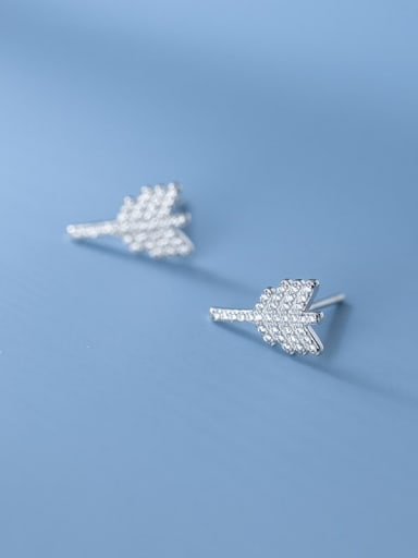 925 Sterling Silver Cubic Zirconia Feather Dainty Stud Earring