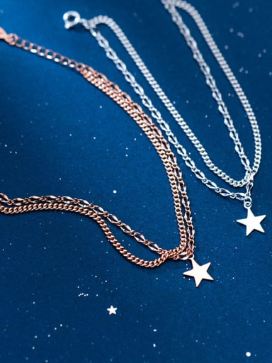 925 Sterling Silver Star Dainty Strand Bracelet
