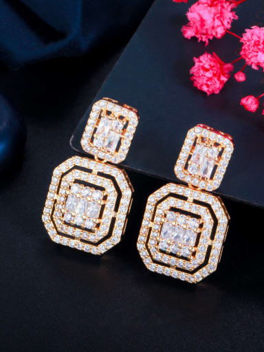 Golden Brass Cubic Zirconia Geometric Luxury Drop Earring