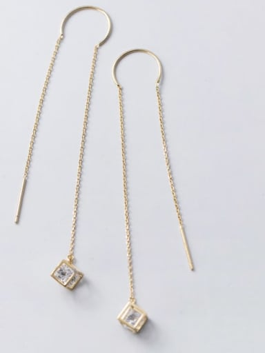 925 Sterling Silver C-shaped long section square hollow geometry Earring