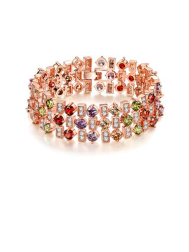 Brass Cubic Zirconia Geometric Luxury Bracelet