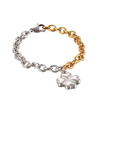 Stainless Steel Smooth Flower Minimalist  Hollow  Chian   Bracelet