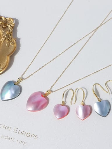Brass Shell Minimalist Heart Earring and Necklace Set