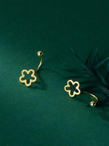 gold 925 Sterling Silver Hollow Flower Minimalist Stud Earring