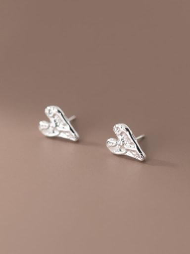 925 Sterling Silver Heart Minimalist Stud Earring