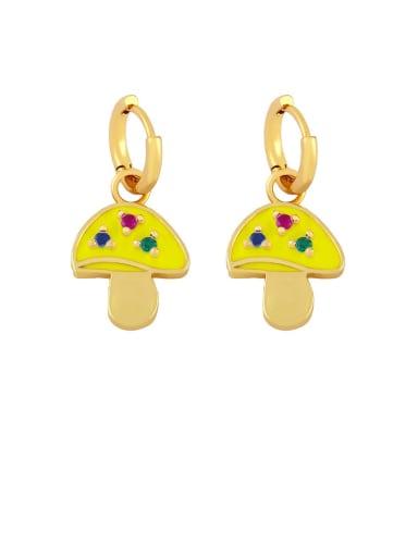 yellow Brass Enamel Mushroom Bohemia Stud Earring