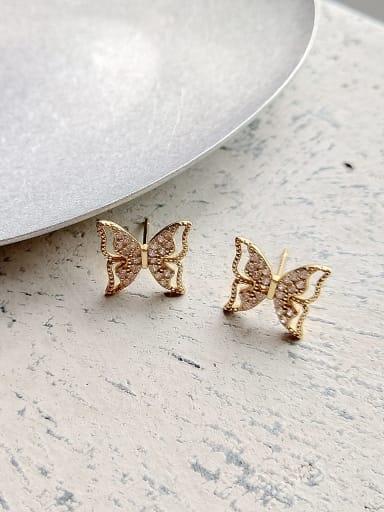925 Sterling Silver Cubic Zirconia White Butterfly Cute Stud Earring