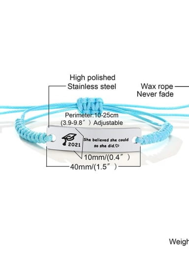 Blue rope 10 Stainless steel Geometric Minimalist Woven Bracelet
