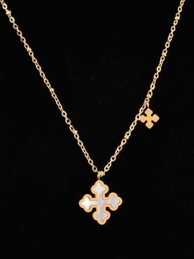 Titanium Steel Shell Cross Minimalist Necklace