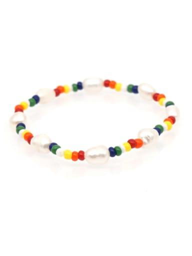 ZZ B200005B Freshwater Pearl Multi Color Irregular Bohemia Stretch Bracelet