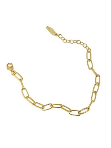 golden 925 Sterling Silver Hollow Geometric Chain  Minimalist Link Bracelet
