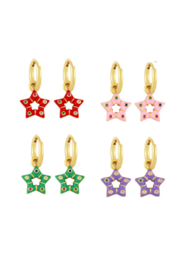 Brass Multi Color Enamel Star Vintage Huggie Earring