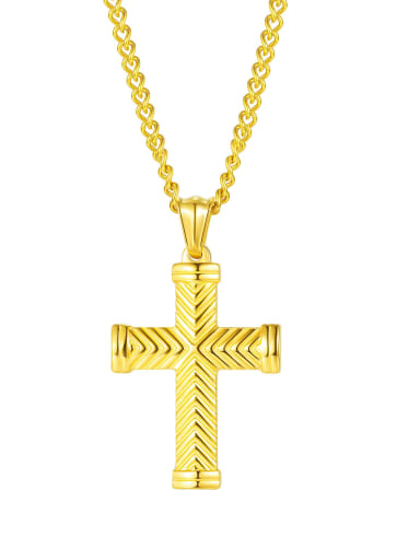 2003 [gold single pendant] Titanium Steel Cross Hip Hop Regligious Necklace