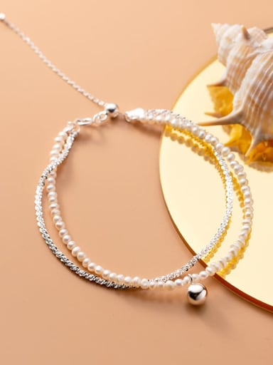 925 Sterling Silver Imitation Pearl Round Minimalist Strand Bracelet