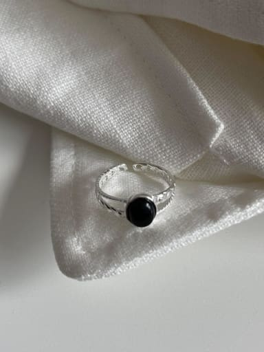 925 Sterling Silver Obsidian Geometric Vintage Band Ring