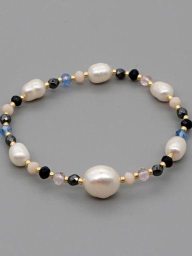 ZZ B200149A Stainless steel Freshwater Pearl Irregular Bohemia Stretch Bracelet