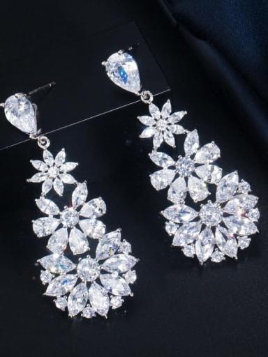 Platinum White Stone Brass Cubic Zirconia Flower Luxury Cluster Earring