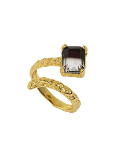 18K gold [No. 14 adjustable] 925 Sterling Silver Cubic Zirconia Irregular Vintage Band Ring
