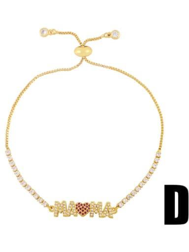 D Brass Cubic Zirconia Letter Minimalist Beaded Bracelet