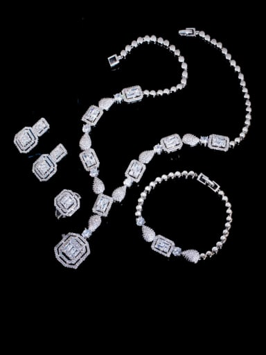 Platinum 4-piece set Brass Cubic Zirconia  Luxury Geometric Ring Earring Braclete And Necklace Set