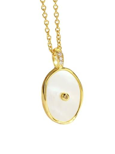 Brass Cats Eye Oval Minimalist Necklace