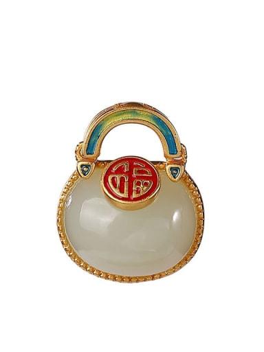 925 Sterling Silver Irregular  Jade Vintage Pendant