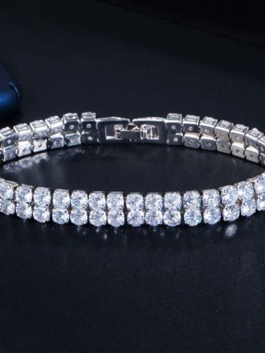Platinum White Copper Cubic Zirconia Geometric Dainty Bracelet