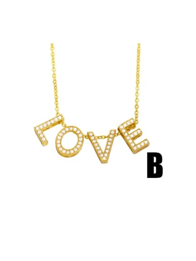 B Brass Cubic Zirconia Simple LOVE letters Necklace