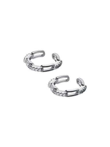 silver 925 Sterling Silver Cubic Zirconia Geometric Minimalist Clip Earring