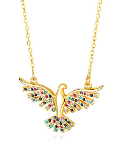 716 Gold Plated Alloy Rhinestone Eagle Ethnic Necklace