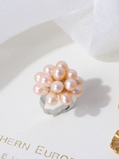 Orange ring Brass Freshwater Pearl Flower Vintage Band Ring