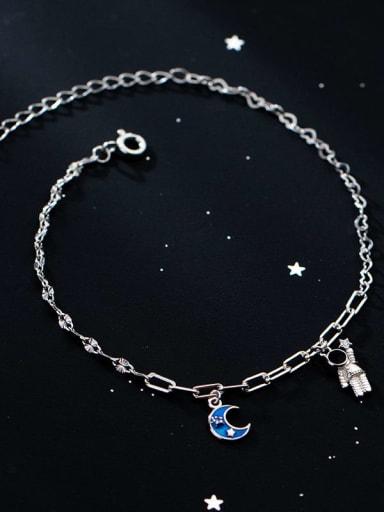 925 Sterling Silver Enamel Moon Minimalist Link Bracelet