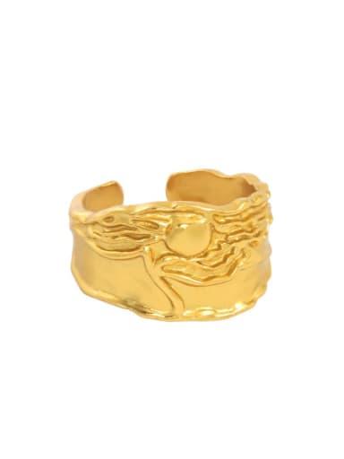 18K gold [14 adjustable] 925 Sterling Silver Irregular Vintage Band Ring