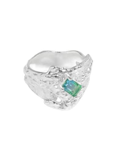 925 Sterling Silver Glass Stone Irregular Vintage Band Ring