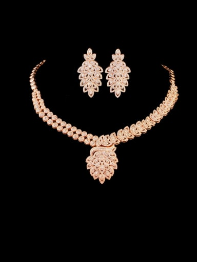 Rose Gold suit Brass Cubic Zirconia Luxury Leaf Earring and Necklace Set