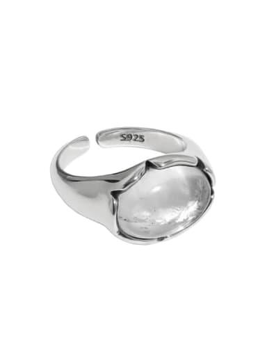 Retro silver [15 adjustable] 925 Sterling Silver Crystal Irregular Vintage Band Ring