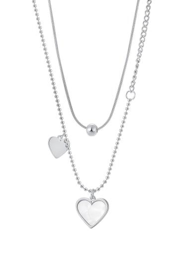 2038 Steel Necklace Titanium Steel Shell Heart Minimalist Multi Strand Necklace