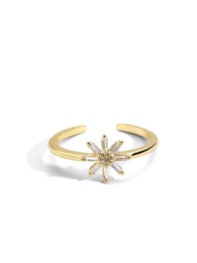 Golden Daisy ring Brass Cubic Zirconia Flower Minimalist Band Ring