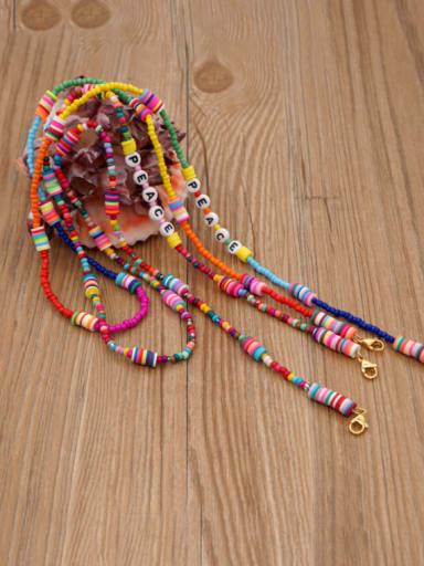 Stainless steel Bead Multi Color Polymer Clay Letter Bohemia Hand-woven Necklace