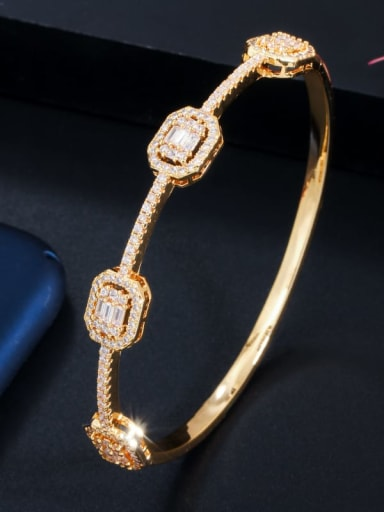 gold Copper Cubic Zirconia Geometric Luxury Band Bangle