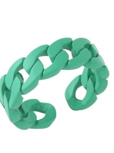 green Brass Geometric Hip Hop Band Ring